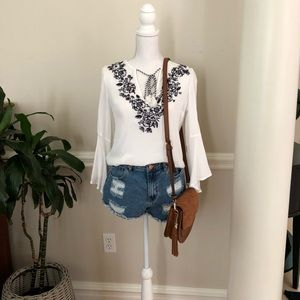 White, floral, flattering top